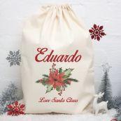 Personalised Christmas Santa Sack 80cm- Poinsettia
