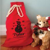 Personalised Santa Sack Red 70 x 50 - Glitter Snowman