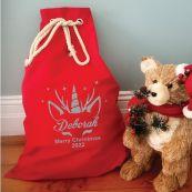 Personalised Santa Sack Red 70 x 50 - Glitter Unicorn