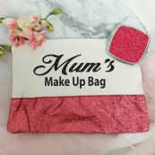 Mum Make Up Bag & Mirror Set Pink Glitter