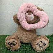 Mum Bear With Peek-a-Boo Pink Heart 40cm