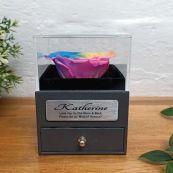 Eternal Rainbow Rose Maid of Honour Jewellery Gift Box