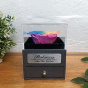 Eternal Rainbow Rose 70th Jewellery Gift Box
