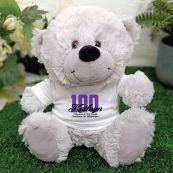 100th Teddy Bear Grey Personalised Plush