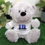 18th Teddy Bear Grey Personalised Plush
