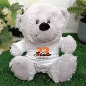 Birthday Teddy Bear Grey Personalised Plush