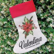 Personalised Christmas Stocking - Poinsettia