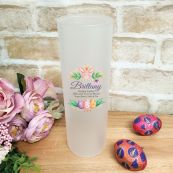 Personalised Easter Frosted Glass Vase - Floral Bunny