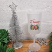 Christmas Frosted Wine Glass Goblet Bell Wreath