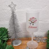 Christmas Frosted Wine Glass Goblet Happy Santa