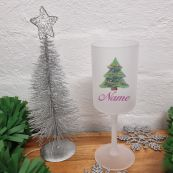 Christmas Frosted Wine Glass Goblet Pretty Tree