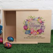 Personalised Wooden Easter Box - Egg Wreath