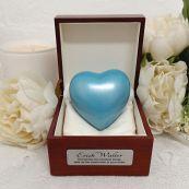 Baby Memorial keepsake Urn For Ashes Blue Heart