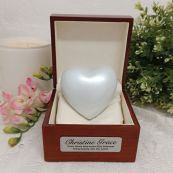 Baby Memorial keepsake Urn For Ashes Pearl White Heart