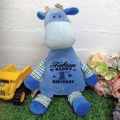 Oeko Blue Giraffe Birthday Cubby Plush