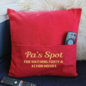 Grandad Personalised Pocket Pillow Cover Red