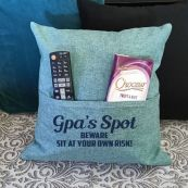 Grandpa Personalised Mint Green Pocket Reading Pillow Cover