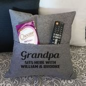 Grandpa Personalised Grey Pocket Pillow Cover