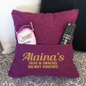 Personalised pocket Reading Pillow Cover Plum