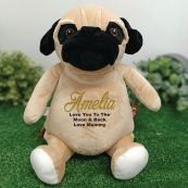 Personalised Message Pug Dog Cubbie Bear Plush