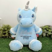Personalised Message Blue Unicorn Cubbie Bear Plush