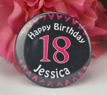 Personalised  18th Pink Heart Badge