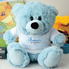 1st Christmas Personalised Teddy Bear Blue Plush