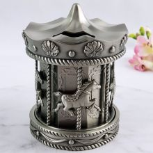 Baby Money Box Pewter Carousel