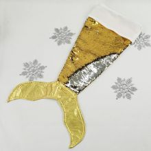 Mermaid Tail Sequin Christmas Stocking - Gold