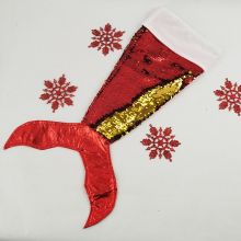 Mermaid Tail Sequin Christmas Stocking - Red
