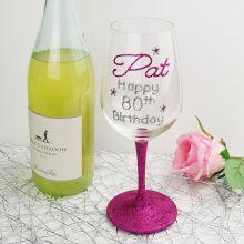 Birthday Personalised Wine Glass Hand Painted