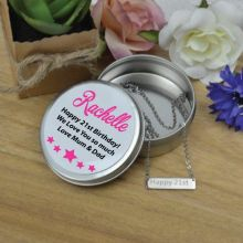 21st Birthday Silver Bar Necklace with Personalised Tin