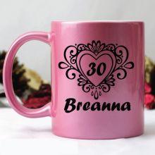 30th Birthday Pink Personalised Coffee Mug- Swirl