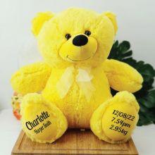 Baby Birth Details Teddy Bear 40cm Plush Yellow