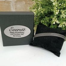 21st Stainless Steel Chain Bracelet In Personalised Box