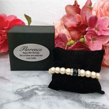 Pearl Bracelet with Personalised 80th Box