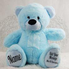 Personalised Teddy Message Bear 40cm Plush Light Blue