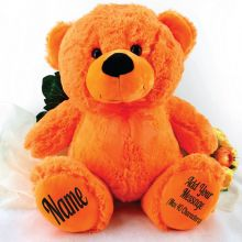 Personalised Teddy Message Bear 40cm Plush Orange