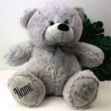Personalised 40cm Teddy Bear Plush Grey With Zip