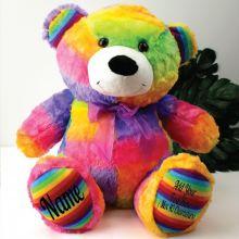 Personalised Teddy Message Bear 40cm Plush Rainbow