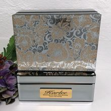 70th Birthday Jewellery Box Mirrored Golden Glitz