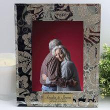 Personalised Anniversary Frame 5x7 Photo Glass Golden Glitz