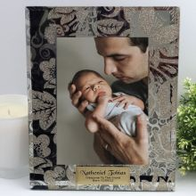 Baby Personalised Frame 5x7 Photo Glass Golden Glitz