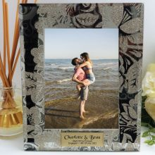 Personalised Engagement Frame 5x7 Photo Glass Golden Glitz