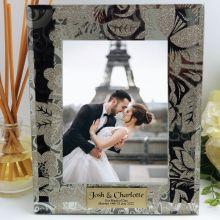 Personalised Wedding Frame 5x7 Photo Glass Golden Glitz