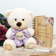 Mum Flower Bear with Notepad & Pen