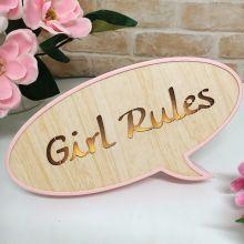 Girl Rules Rustic LED Convo Bubble
