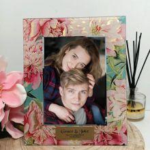 Engagement Birthday Peony Photo Frame 5x7 Glass