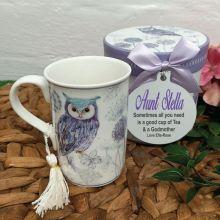 Godmother Mug with Personalised Gift Box - Blue Owl