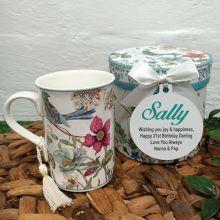 Birthday Mug with Personalised Gift Box - Blue Bird